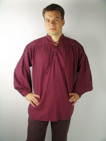 Mittelalter Stehkragen-Schnürhemd